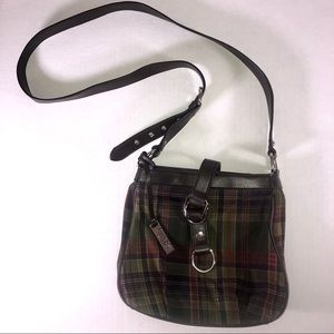 Chaps Plaid Flannel Brown Small Purse Bag